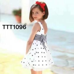 0071.  Váy thô Jacadi chấm bi đen đính nơ kẻ size to 0357 - 290vaf