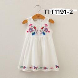 0074.  Váy thô Boi DG trắng chéo ngực thêu hoa LT 725 - 464vaf