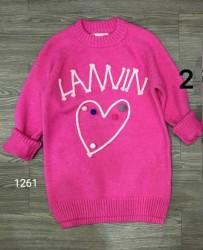 1115.  Áo len lông cừu màu hồng sen hình trái tim - 186alf