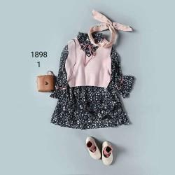 1898. Sét váy voan hoa nhí + gile len - 588bpk
