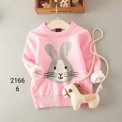 2166. Áo len Hàn Quốc dệt  thỏ chấm bi - 157alk