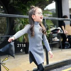 2118. Váy len lông thỏ Hàn Quốc xẻ tà - 731vak