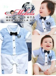 Áo liền quần body áo xanh lơ gắn nơ kẻ quần trắng xinh xắn lịch sự cho bé 9 và 11kg