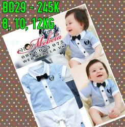 BD29 Áo liền quần body áo xanh lơ gắn nơ kẻ quần trắng xinh xắn lịch sự cho bé 8,10,12kg