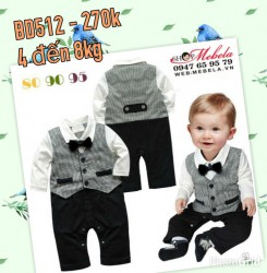 BD512 Body áo liền quần cho bé  giả gile vest, nơ cổ 5 đến 8kg sz 80,90,95