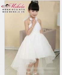 V220 Váy dự tiệc đuôi cá màu trắng cho bé 30-35kg