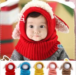 M513 mũ len thỏ liền khăn cho bé