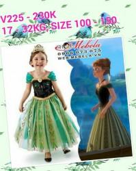 V225 Váy công chúa Anna Frozen cho bé gái 4 - 10 tuổi 15 - 32kg, cao 137cm