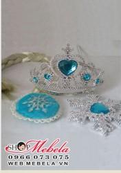 PK06 Bộ vương miện+đũa thần+bím tóc elsa, anna cho công chúa nhỏ