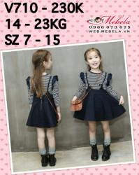 V710 - Áo thun dài tay kẻ xanh kèm chân váy yếm bò cho bé gái 3t - 6t (14kg - 23kg)