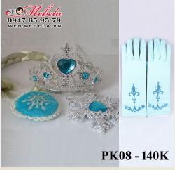 PK08 - Bộ vương miện, găng tay, tóc giả, đũa thần nữ hoàng Elsa