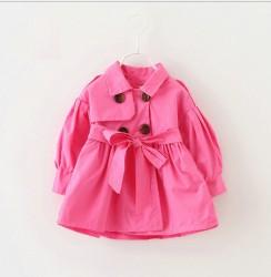 KG271 - Áo khoác hồng tay bồng thắt đai kaki 2 lớp cho bé 15,16kg