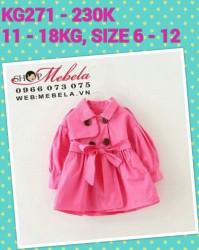 KG271 - Áo khoác hồng tay bồng thắt đai kaki 2 lớp cho bé 18th - 4t (11kg - 18kg)