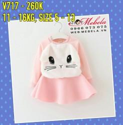 V717 - Váy hồng thỏ trắng chân váy thun xốp cho bé 18th - 4t (11kg - 16kg)
