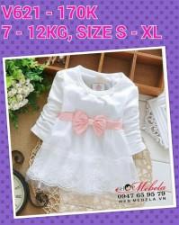 V621 - Váy thun dài tay trắng nơ hồng cho bé 7kg - 12kg