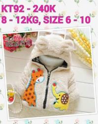 KT92 - Áo khoác lông 3 lớp liền mũ hình hươu & voi cho bé 7th - 24th (8kg - 12kg)