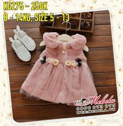 KG275 Áo khoác gile lông hồng dáng váy cho bé gái 8-14kg,7th-3t, sz5-13