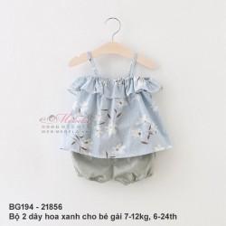 BG194 Bộ 2 dây hoa xanh cho bé gái 7-12kg, 6-24th