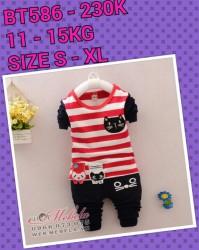 BT586 Bộ dài tay kẻ đỏ mèo đen cho bé 11-15kg, 18th - 3t, S-XL