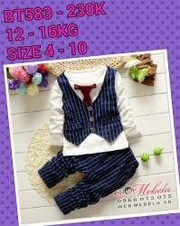 BT583 Bộ dài tay giả gile cà vạt đỏ cho bé 12-16kg, 2-3,5t, 4-10