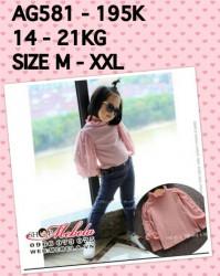 AG581 Áo hồng cao cổ tay dài bồng cho bé gái 14-21kg, 3-6t, M-XXL
