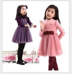 V715 - Váy nỉ lót lông màu tím ba hoa cho bé 18kg - 29kg; 4t - 9t; sz 130 - 150