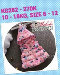 KG282 - Áo khoác gile phao liền mũ bướm hồng cho bé 10kg - 18kg; 1T - 5T; sz 6 - 12