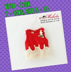 V738 Váy dạ đỏ sát nách pha lông cho bé 7-13KG, 5TH-2,5T, SZ 5-13