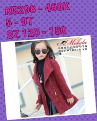 KG298 - Áo khoác dạ đỏ đen cho bé gái 5 - 9T, size 120, 150