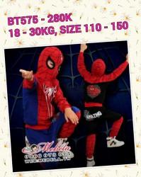 BT575 Bộ siêu nhân người nhện xanh đỏ cho bé 18-30kg sz 110-150
