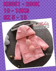 KG351 Áo khoác hồng da lộn lót lông mềm ấm cho bé gái 10-16kg, 1-4t, sz 5-13
