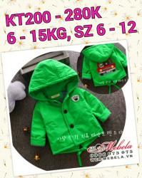 KT200 Áo khoác xanh cây 3 lớp hình ô tô cho bé 6 - 15kg, 2th - 3tuoi, sz 6-12