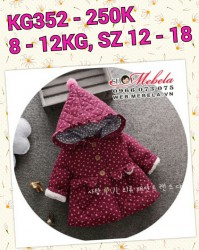 KG352 Áo khoác liền mũ màu bã trầu hoa nhí 3 lớp cho bé gái 8-12kg, 6 - 24th, sz 12-18