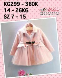 KG299 Aó khoác dạ hồng bé gái, 3-7t, 14-26kg, sz 7-15