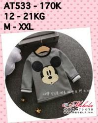 AT533 Áo dài tay nỉ lót lông hình Mickey kẻ cho bé, 2-6t, 12-21kg, sz M-XXL
