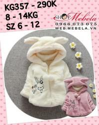 KG357 Áo khoác lông liền mũ hình thỏ cho bé gái 8-14kg, 7th-3t, sz 6-12