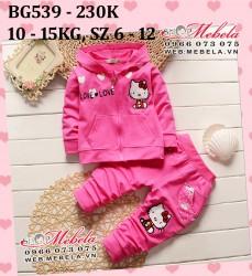 BG539 Bộ mèo kitty màu hồng cho bé gái 10-15kg, 1-3t, sz 6-12
