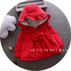 KG310 - Áo khoác nhung 3 lớp màu đỏ đun bé gái 16kg