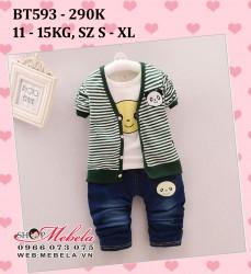 BT593 Bộ quần jeans, áo phông trắng, áo khoác kẻ ngang gấu trúc cho bé trai 11-15kg, 18th-3t, sz s-xl