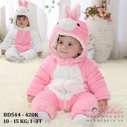 BD544 Body lông thỏ 3 lớp mềm ấm cho bé 10-15kg, 1-3t, sz 80-110