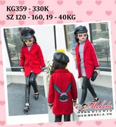 KG359 Áo dạ đỏ hình cho bé gái 19-40kg, 5-13t, sz 120-160