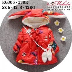 KG305 Áo khoác phao đỏ hình cô gái kèm túi cho bé gái 8-12kg, 9-24th, sz 6-12