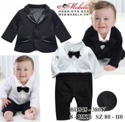 BD545 Body áo trắng liền quần  dày ấm kèm vest đen cho bé 13,14kg 85cm, sz110