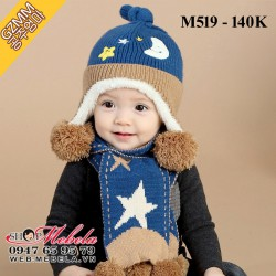 M519 Bộ mũ + khăn len ấm hình trăng sao cho bé