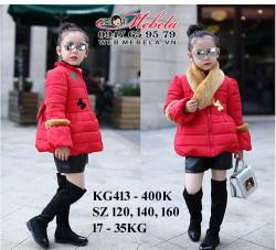 KG413 Áo khoác phao đỏ kèm khăn lông cho bé gái 17-35kg, 4-10t, sz 120, 140, 160