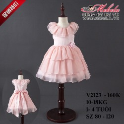 V2123- Váy công chúa hồng 3 tầng cho bé 10-18kg, 1- 4 tuổi