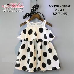 V2126 Váy hở vai chấm bi cho bé 2-4t, sz 7-15
