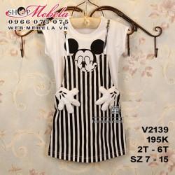 V2139 Váy trắng giả yếm kẻ sọc họa tiết chuột mickey cho bé 2-6t, sz 7-15
