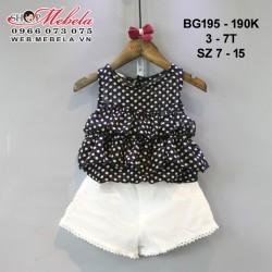 BG195 Bộ áo chấm bi quần short trắng cho bé gái 3-7t, sz 7-15