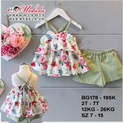 BG178 Bộ quần áo hoa 2 dây kèm quần xanh rêu cho bé gái 2 - 7tuổi, 12 - 26kg; size 7 - 15